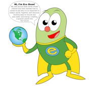 EcoBean hero of environmental books produced by Anne and Al Mielen.