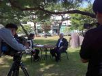 Chosun TV interviewing Lester Brown, Gwangju, Korea