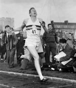Roger Bannister crossing the finish line, 1952