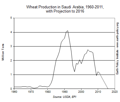 Wheat Production in Saudi Arabia, 1960-2011, with Projection to 2016