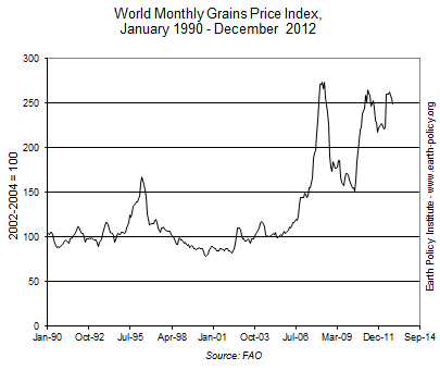 World Monthly Grains Price Index, January 1990 - December  2012